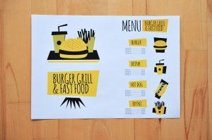 wdruk podkladek do barow z burgerami lub restauracji