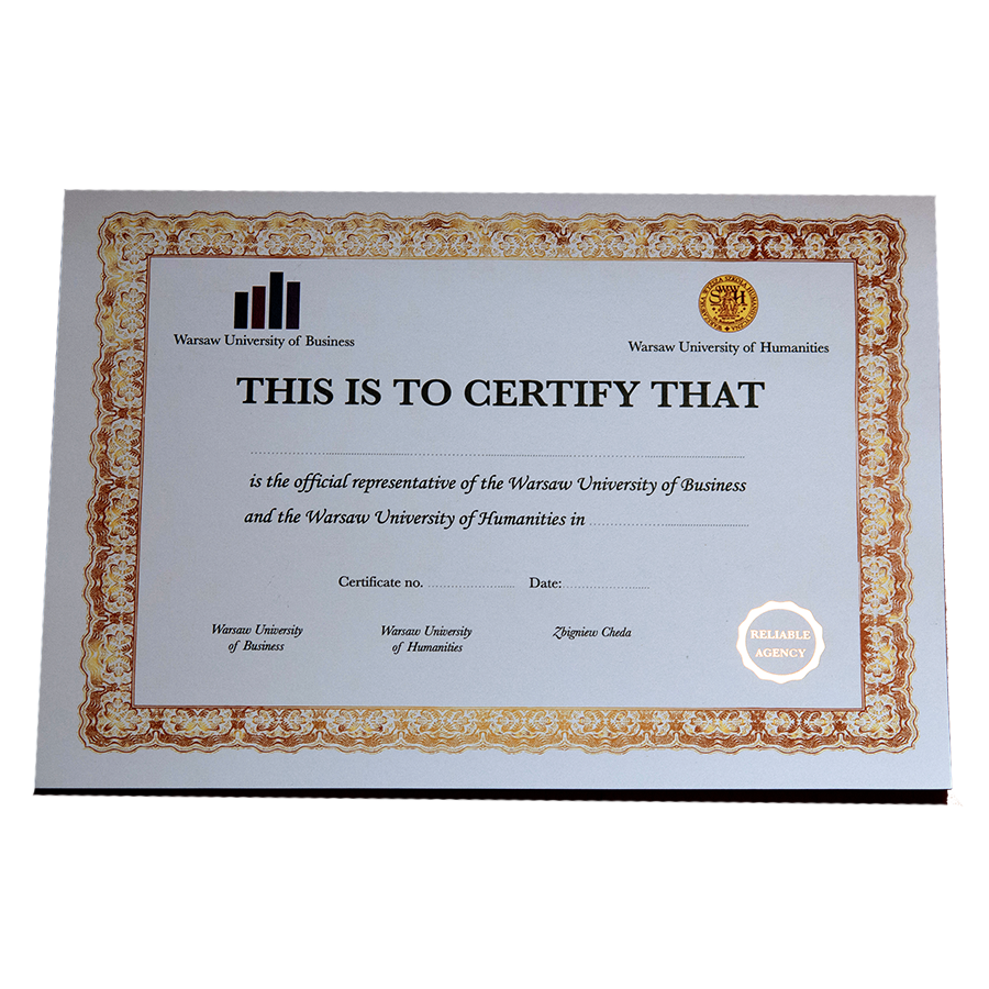 hot stamping na certyfikatach dyplomach