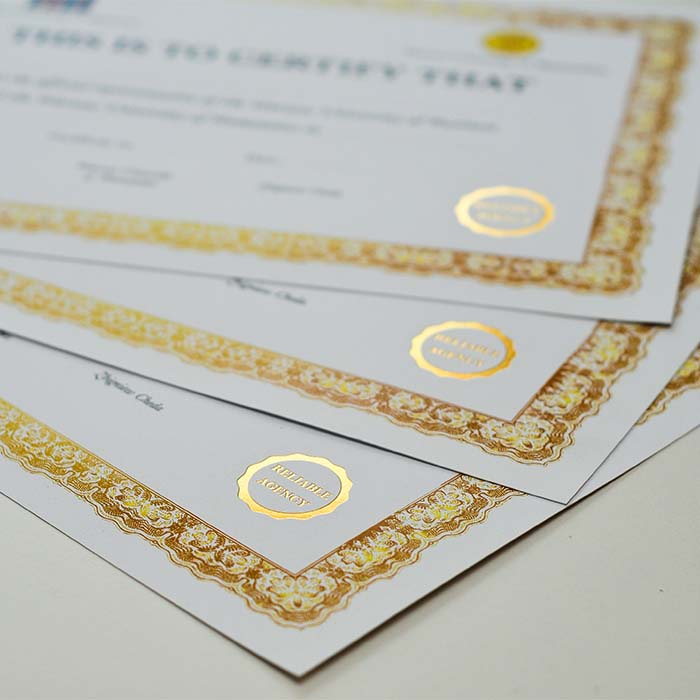 hot stamping złoty certyfikaty, dyplomy