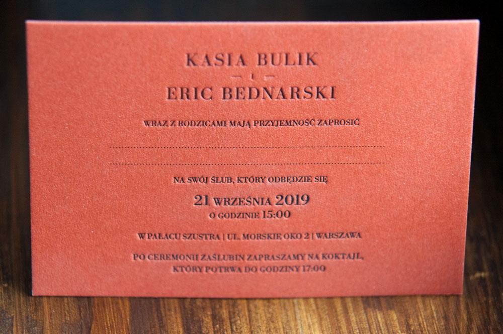 zaproszenie letterpress