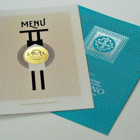 hot stamping na składanych kartach menu